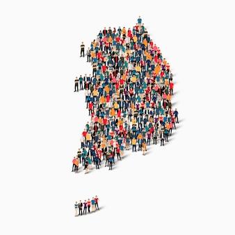 Conjunto isométrico de pessoas formando o mapa da coreia do sul, país, conceito de infográficos da web de espaço lotado, plano 3d. grupo de ponto de multidão formando uma forma predeterminada.