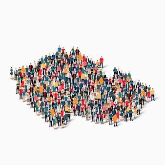 Conjunto isométrico de pessoas formando o mapa da república checa, país, conceito de infográficos da web de espaço lotado, plano 3d. grupo de ponto de multidão formando uma forma predeterminada.