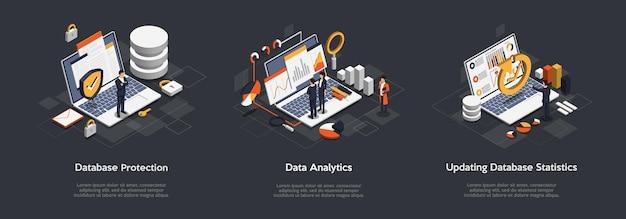 Conjunto isométrico de proteção de banco de dados de negócios