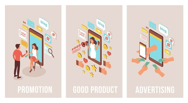 Conjunto isométrico de publicidade do blogger de três banners verticais com imagens de smartphones
