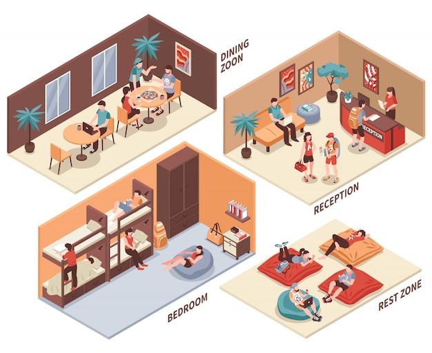 Conjunto isométrico de quartos de albergue