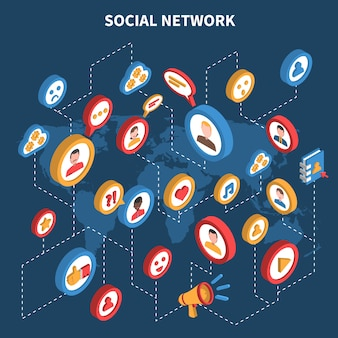 Conjunto isométrico de rede social