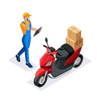 Conjunto isométrico de serviço de entrega ou serviço de correio. trabalhadores de entrega ou correio. entrega em uma scooter. conceito. van de entrega rápida. homem