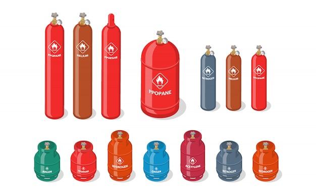 Conjunto isométrico de tanques de gás