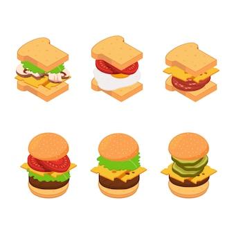 Conjunto isométrico de tipos de hambúrguer e sanduíche