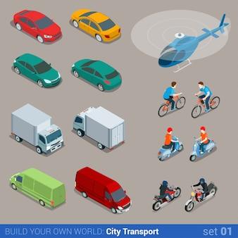 Conjunto isométrico de transporte cidade isométrica plana