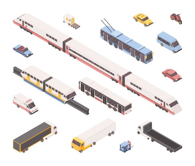 Conjunto isométrico de transporte da cidade