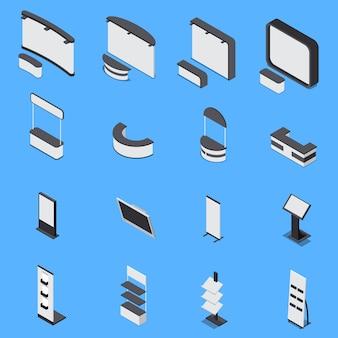 Conjunto isométrico de vários estandes de exposição e prateleiras isoladas em fundo azul 3d