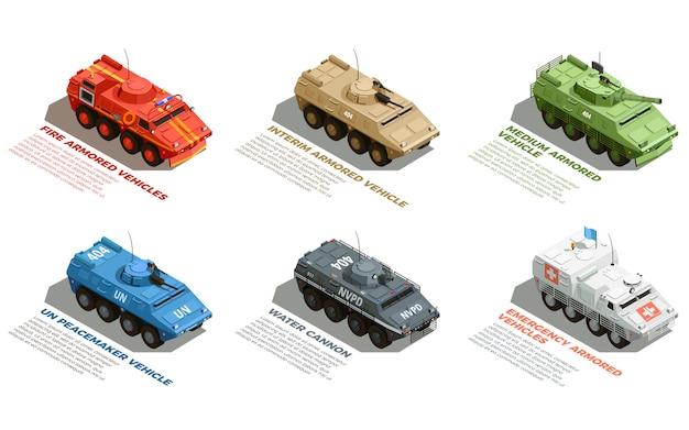 Conjunto isométrico de veículos militares do exército