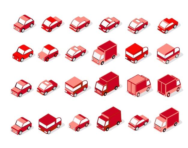 Conjunto isométrico de veículos motorizados vermelhos, carros, caminhões, táxis e infraestrutura urbana de transporte