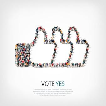 Conjunto isométrico de votação sim, conceito de infográficos da web de uma praça lotada