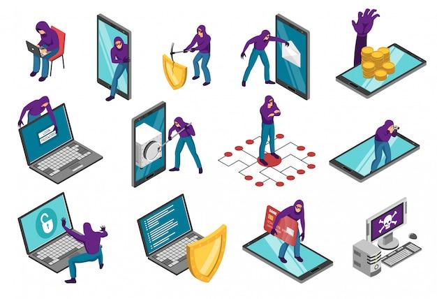 Conjunto isométrico hacker de composições com computadores portáteis de smartphones e caráter humano de ladrão cibernético