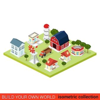 Conjunto isométrico plano de infográfico de campo edifícios agrícolas. celeiro do lado do campo, armazém, loja, trator, moinho de vento, bomba de água,