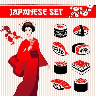 Conjunto japonês: sushi de comida tradicional, gueixa e ramo de sakura