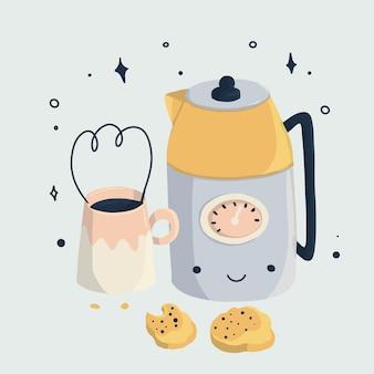 Conjunto kawaii de cafeteira e xícara de café com biscoitos