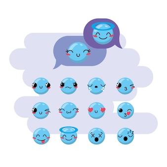 Conjunto kawaii emoji emoção design ícone