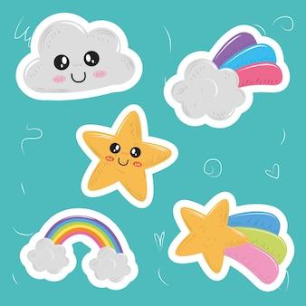 Conjunto kawaii fofo ícones adesivos nuvem estrela arco-íris