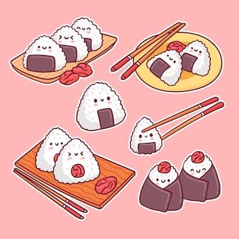 Conjunto kawaii umeboshi onigiri japonês delicioso