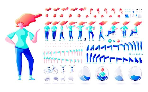 Conjunto kit coleção isolado construtor estilo moderno corpo elemento personagem mulher fêmea pose gestos vista frontal verso ação penteados para animação de design de movimento