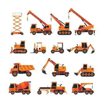 Conjunto laranja de objetos de veículos de construção