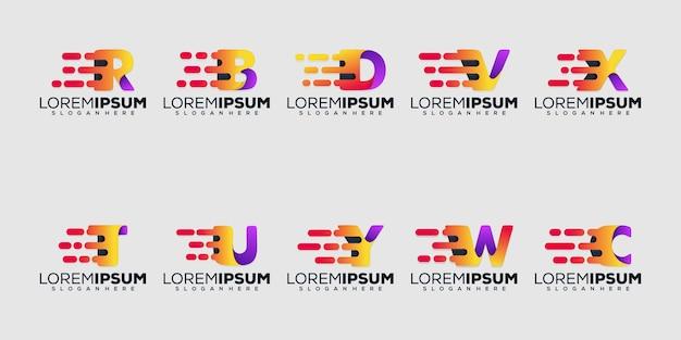 Conjunto lette moderno conjunto letra moderna com modelo de logotipo de conceito de logotipo de tecnologia
