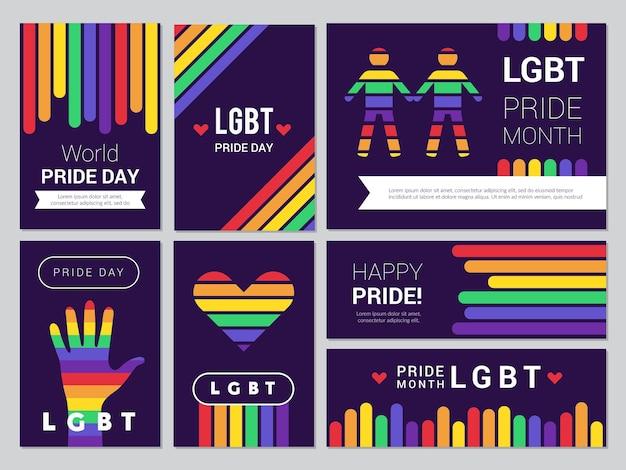 Conjunto lgbt de suporte. banners coloridos de arco-íris para ilustrações de eventos de povos lgbt.
