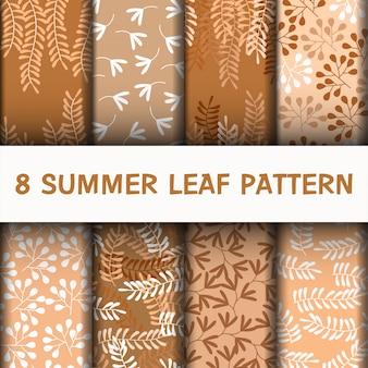 Conjunto lindo padrão de folhas