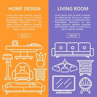 Conjunto linear de elementos de sala de estar