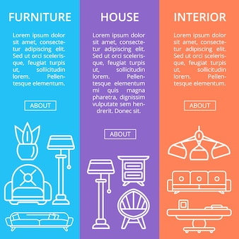 Conjunto linear de móveis de casa moderna
