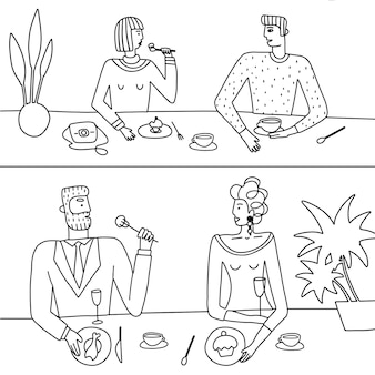 Conjunto linear desenhado de mão de casais da moda no café, bebendo café e almoçando, colorindo moda il ...