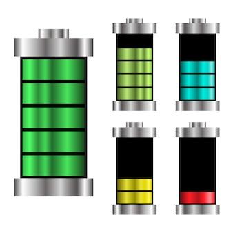 Conjunto logotipo bateria ilustração carga energia