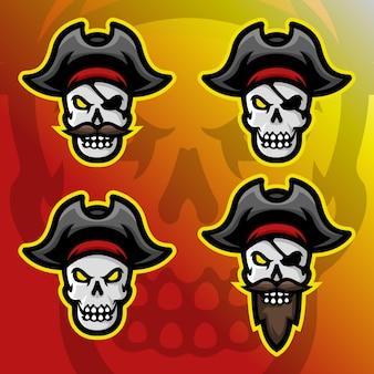 Conjunto logotipo de mascote de pirata de caveira
