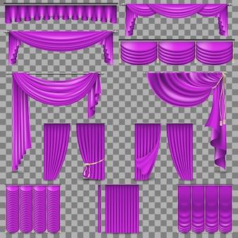 Conjunto luxuoso de cortinas de veludo dourado em seda.