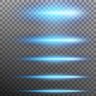 Conjunto. luzes de efeito de brilho azul abstrato. fundo transparente apenas em