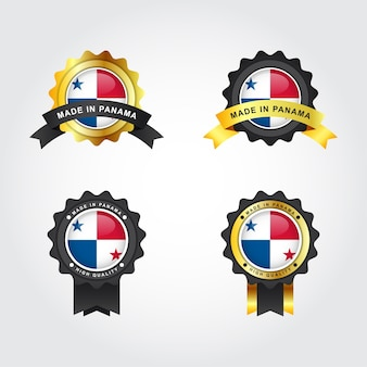 Conjunto made in panama com design de modelo de ilustração de etiquetas de crachá de emblema