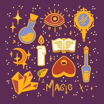 Conjunto mágico de objetos padrão sinais e símbolos