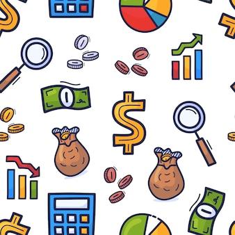Conjunto mão desenhada doodle padrão sem emenda sobre o tema dos negócios. dinheiro de estilo colorido dos desenhos animados ou padrão de negócios