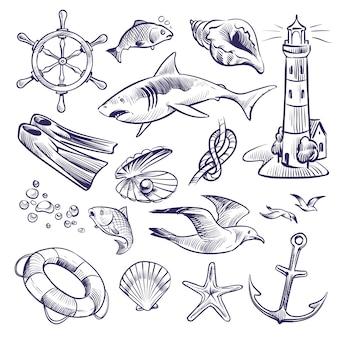 Conjunto marinho de mão desenhada. mar oceano viagem farol shell tubarão nó bóia salva-vidas gaivota âncora volante