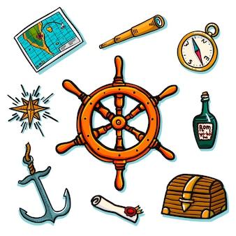Conjunto marinho. equipamento de bordo. tronco, leme, mapa, rolagem, bússola, rosa dos ventos, garrafa de rum, telescópio, âncora.