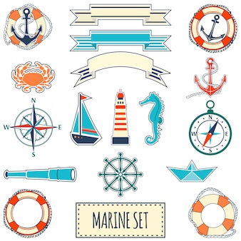 Conjunto marinho plano