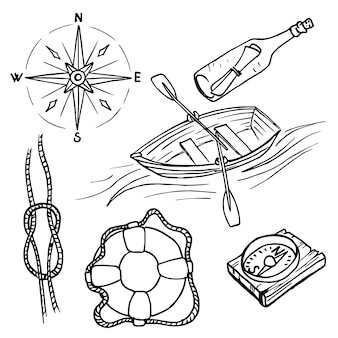 Conjunto marítimo de elementos de design náutico. ilustrações desenhadas a mão