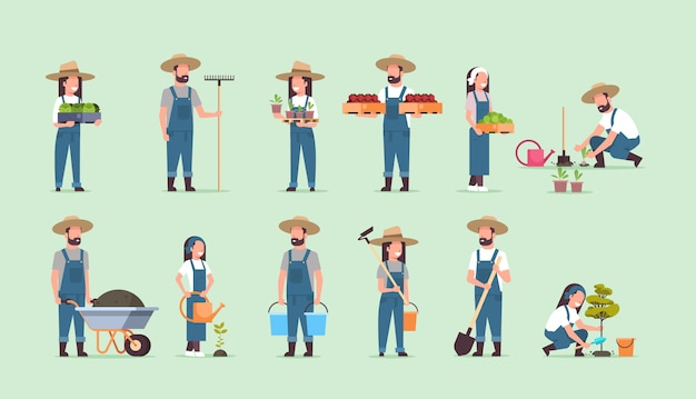 Conjunto masculino feminino agricultores segurando diferentes equipamentos agrícolas colheita plantar legumes trabalhadores agrícolas coleção eco agricultura