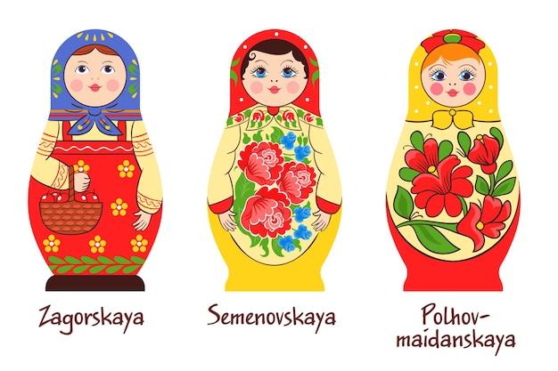 Conjunto matryoshka tradicional russo de três imagens isoladas com diferentes bonecos empilhados e obras de arte em cores diferentes