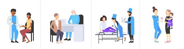 Conjunto médicos examinando pacientes diferentes consultas médicas medicina conceitos de saúde coleção comprimento total horizontal