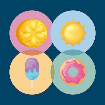 Conjunto meia laranja com sol e ícones