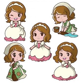 Conjunto menina bonitinha vestindo uma princesa., conceito de desenho animado de conto de fadas.
