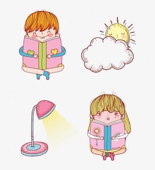 Conjunto menina e menino ler livro com lâmpada e sol