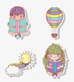 Conjunto menino e menina ler livro com balão de ar