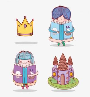 Conjunto menino e menina ler livro com coroa e castelo