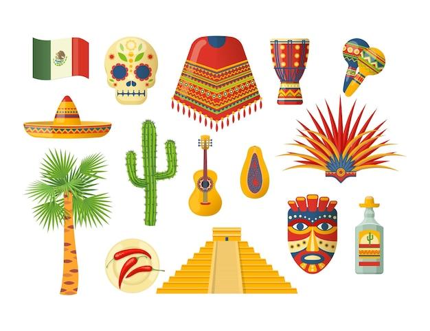 Conjunto mexicano de cinco de mayo. sombrero de elementos latinos tradicionais, caveira de açúcar, maracas, bandeira, máscara étnica, cacto, carnaval, guitarra, pirâmide, palmeira, cacto, pimenta, tequila, vetor plana de goiaba